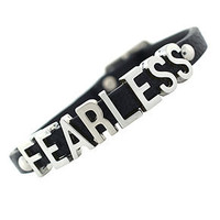 BCBGeneration BCBGeneration Bracelet, Silver-Tone Black PVC Fearless Mini Affirmation Bracelet - Fashion Jewelry - Jewelry & Watches - Macy's