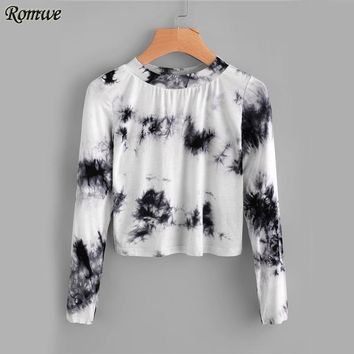 Water Color Crop Top Casual Basic T shirt Women Long Sleeve Print Fall Tops Black and White Tie Dye O Neck T shirt
