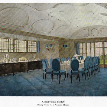 "Color Scheme Print - 1923 - ""DINING ROOM FOR COUNTRY HOUSE BERLIN"" - Decorative Lithograph"