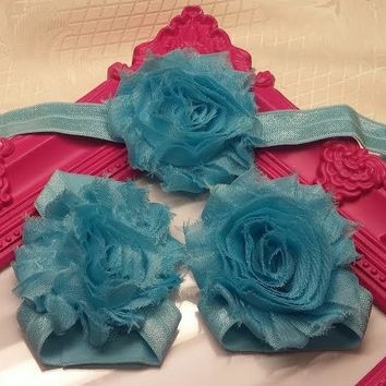 Shabby Flower Headband and Barefoot Sandals - Multiple Colors