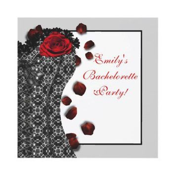 Black Lace Corset Red High Heel Bachelorette Party Custom Invitation from Zazzle.com