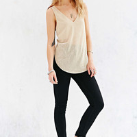 V-Neck Arc Hem Cutout-Back Sleeveless Top