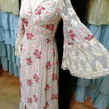 1970s Mint and Pink Rose Prairie Maxi Dress with Cream Lace Empire Waist Bell Sleeves Full Skirt Tie S/M