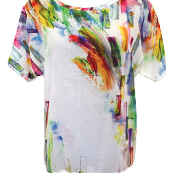 Cotton Shirt, White Shirt, Oversize Shirt, Plus Size Shirt, Rainbow Colors, Cotton Blouse, Women Shirts, Designers Shirt, Summer Shirt