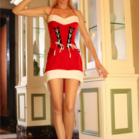 Red Tie-up Lace Accent Mini Dress