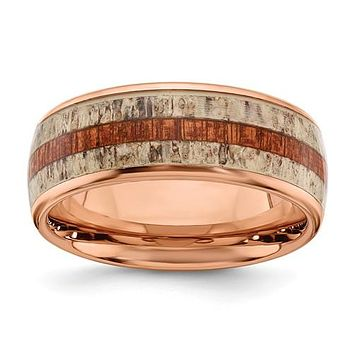 Stainless Steel Rose Gold IP With Wood And Antler Inlay 8mm Band