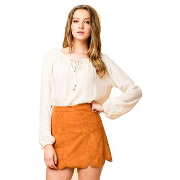 Faux Suede Scallop Skirt, Camel