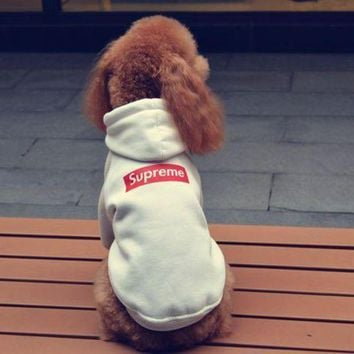 LMFUP0 Supreme Dog Pet Puppy Hoodie Thick Fleece Clothing Coat
