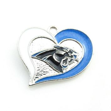 High quality Enamel Carolina Panthers Heart Football team Logo Charm Damgle Pendant Necklace For DIY Sports Necklace Jewelry