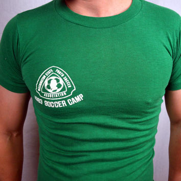 Vintage 1983 Washington State Youth Soccer Camp Green Tee Shirt - NIKE logo on BACK