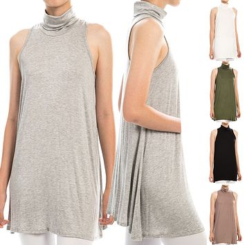 Plain Sleeveless Mock Turtleneck Tunic A-Line Dress Top