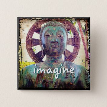 """Imagine"" quote Asian turquoise statue head photo Button"