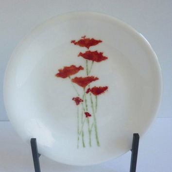 Fused Glass Plate in White with Beautiful Poppies