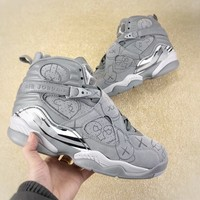 [Free Shipping ]Nike Air Jordan 8 Retro VIII Men's  Cool Grey Wolf Gray Basketball Sneaker