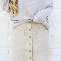 Winnie Corduroy Buttoned Skirt | Taupe