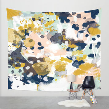 Sloane - Abstract painting in modern fresh colors navy, mint, blush, cream, white, and gold Wall Tapestry by CharlotteWinter