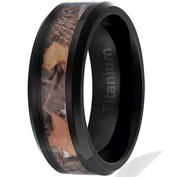 CERTIFIED 8MM Titanium Hunting Ring Black Plated Camouflage Inlay | Beveled Edges