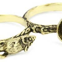 """Beyond Ring """"Enchanted"""" Mouse and Teacup Two Finger Ring"""