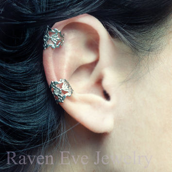 Filigree Ear Cuff Gothic Silver Tone Crystal by ravenevejewelry
