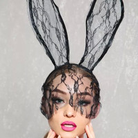 Sexy Black Long Lace Veil Accent Bunny Ears