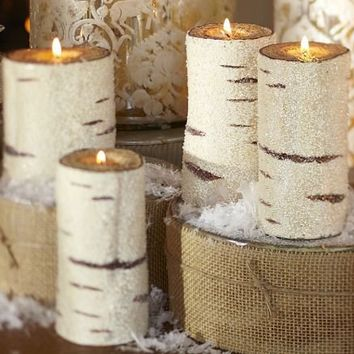 beaded birch pillar candles | Pottery Barn
