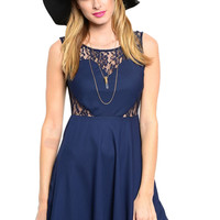 Lace and Chiffon Fit & Flare Cocktail Dress