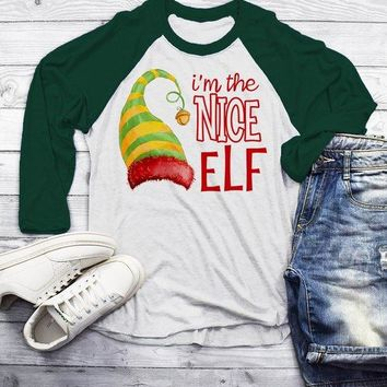 Men's Funny Elf T Shirt Nice Matching Christmas Shirts Graphic Tee Watercolor Elves 3/4 Sleeve Raglan