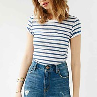 Monrow Striped Cropped Tee- White