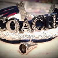 COACH Rhinetone Cord Bracelet w/ Megaphone - Customize by choosing a different Charm; Football, Dance, Hockey, Sport Mom, Music, sports
