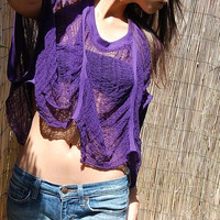 Shredded Oversized Half Shirt in Purple by SlowShineShreds on Etsy