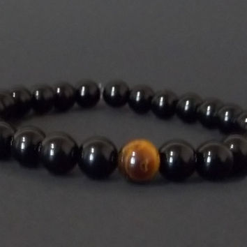 Men's Bead Bracelet Spiritual Tigers Eye Men's Black Acrylic Beaded Bracelet Black Bead Bracelet with Tigers Eye Thoughtful Christmas Gift