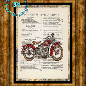 1942 Red WLA45 Harley Motorcycle Art - 2 Print Special - Vintage Dictionary Page Art Print Upcycled Page Print, Graphic, Flowing Liquid art