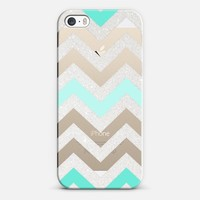 TIFFANY SILVER CHEVRON MINT Crystal Clear iphone case iPhone 5s case by Monika Strigel | Casetify