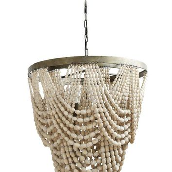 "Ivory Wood Bead Chandelier 25.5"" round 26"" H 3 lights"