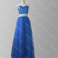 Royal Blue Prom Dresses Sweetheart Crystals Evening Dresses Long Bridesmaid Dresses Beaded Shiny Holiday Party Dresses Lace up Sequins Top