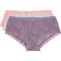 Hanky Panky - Signature set of three stretch-lace boy shorts