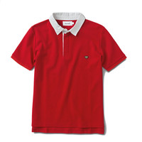 Diamond Supply Contrast Collar Polo Shirt Red