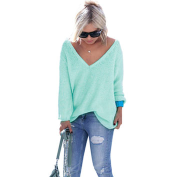 10 Colors Sweater Women 2016 New Autumn Fashion Sexy V Neck Women Sweaters and Pullovers Long Sleeve Knitted Korean Sweater