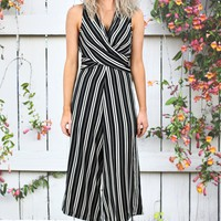 Vertical Stripes Across My Heart Midi Jumpsuit {Black}