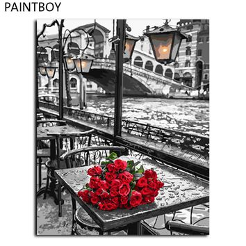 red rose wall art frameless pictures painting by numbers handwork canvas oil painting home decor for living room gx9754