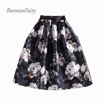BunniesFairy New 50s Vintage Style Women Retro Flower Bouquet Floral Print Gray Color High Waist Midi Skirts Saia Longa Plissada