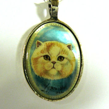Hand Painted Cameo Persian Cat Pendant Mother Of Pearl Shell Original Art Jewelry Cat Lover Gift