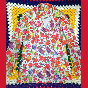 SALE!! 25% OFF !!! Rainbow colorful kitschy kitsch fruit coat jacket