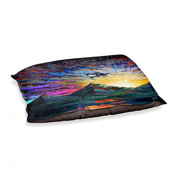 Colorful Wakeboarder Dog Bed / Dog Pillow - Night Ride - Artwork by Teshia