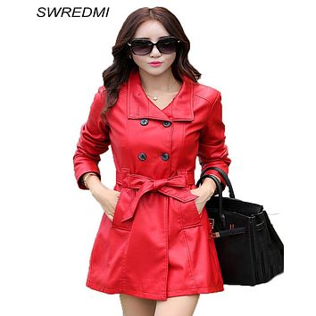 women leather coat 2017 autumn and winter long coat leather slim leather clothing fashion leather coats woman red trench