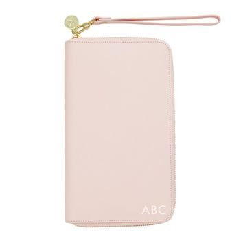 LEATHER TRAVEL WALLET W ZIP: PINK