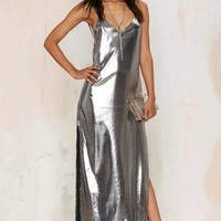 Nasty Gal Alloy About Eve Metallic Dress