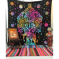 Multi Color Tye Dye Elephant Tree Of Life Tapestry Bedspread Dorm Deco – TheNanoDesigns