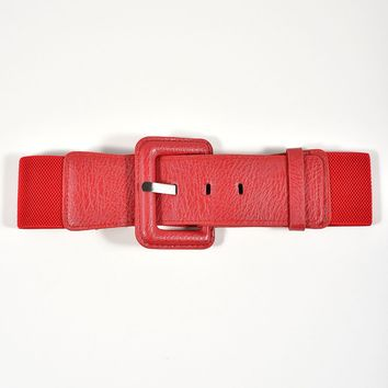 Unique Vintage Retro Style Red Elastic Buckle Belt