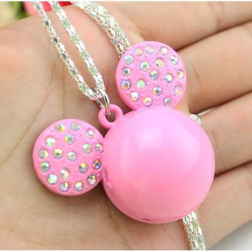 NEW Mickey Shape Cute Lovely Cartoons Pocket Watch fashion Necklace Quartz Watch With Key chain